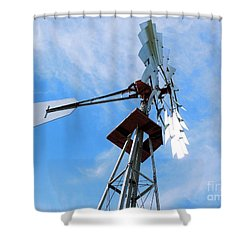 Shower Curtain featuring the photograph Windmill - Mildly Cloudy Day by Ray Shrewsberry