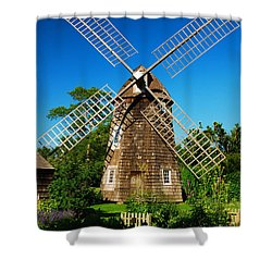 Windmill Of The Garden Shower Curtain by James Kirkikis