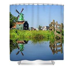 Windmill Reflection Shower Curtain