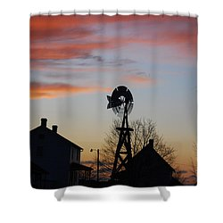 Windmill Sunset Shower Curtain