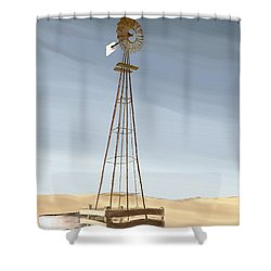 Shower Curtain featuring the painting Windmill by Terry Frederick