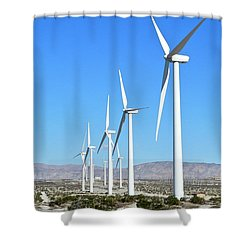 Windmills And Blue Skies Shower Curtain