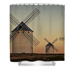 Shower Curtain featuring the photograph Windmills In Golden Light by Heiko Koehrer-Wagner