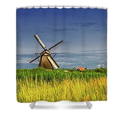 Windmills In Kinderdijk, Holland, Netherlands Shower Curtain