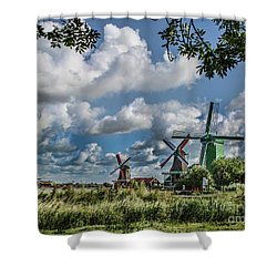 Windmills Of Holland Shower Curtain by Shirley Mangini