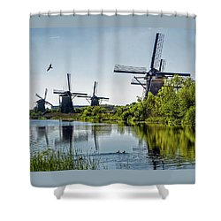 Windmills Of Kinderdijk, Netherlands Shower Curtain