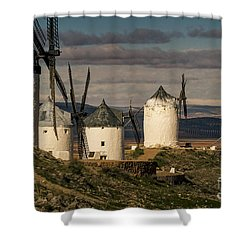 Shower Curtain featuring the photograph Windmills Of La Mancha by Heiko Koehrer-Wagner