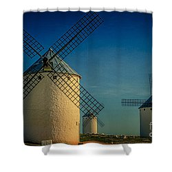 Shower Curtain featuring the photograph Windmills Under Blue Sky by Heiko Koehrer-Wagner