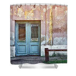 Shower Curtain featuring the photograph Window And Door Of Old Train Station by Eduardo Jose Accorinti