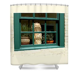 Shower Curtain featuring the photograph Window At Sanders Resturant by Steve Augustin