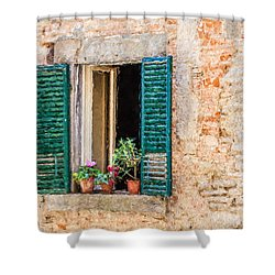 Window Flowers Of Tuscany Shower Curtain