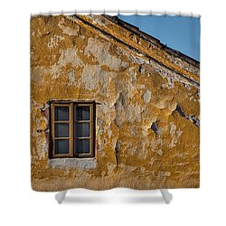 Shower Curtain featuring the photograph Window In A Weathered Czech Wall by Stuart Litoff