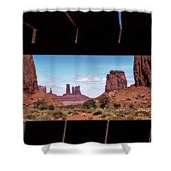 Shower Curtain featuring the photograph Window Into Monument Valley by Eduard Moldoveanu