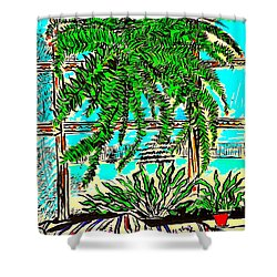 Shower Curtain featuring the drawing Window Loving Fern by Al Goldfarb