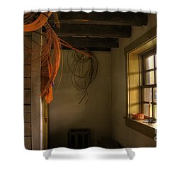 Window On A Rainy Day Shower Curtain by Lois Bryan