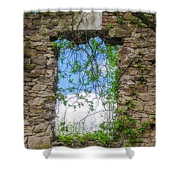 Shower Curtain featuring the photograph Window Ruin At Bridgetown Millhouse Bucks County Pa by Bill Cannon