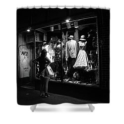 Window Shopping In Black And White Shower Curtain