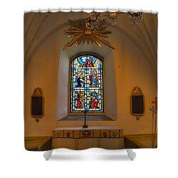 Shower Curtain featuring the photograph Window Teda Church by Leif Sohlman