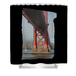 Shower Curtain featuring the photograph window to the Golden Gate Bridge by Stephen Holst