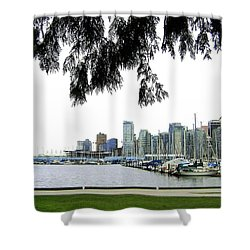 Window To The Harbor Shower Curtain by Will Borden