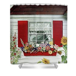 Windowbox With Cat Shower Curtain by Bonnie Siracusa