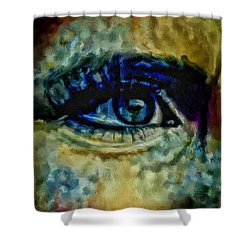 Windows Into The Soul Eye Painting Closeup All Seeing Eye In Blue Pink Red Magenta Yellow Eye Of Go Shower Curtain by MendyZ