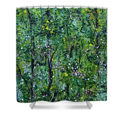 Shower Curtain featuring the painting Windsor Way Woods by Judith Rhue