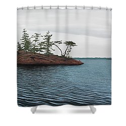 Windswept Island Georgian Bay Shower Curtain