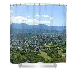 Windward Oahu Panorama I Shower Curtain by David Cornwell/First Light Pictures, Inc - Printscapes