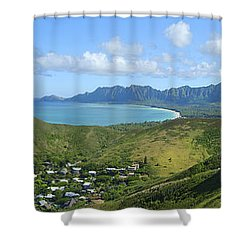 Windward Oahu Panorama IIi Shower Curtain by David Cornwell/First Light Pictures, Inc - Printscapes