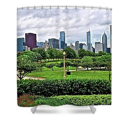 Shower Curtain featuring the photograph Windy City Panoramic From Adler Planetarium by Frozen in Time Fine Art Photography