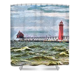 Windy Day At Grand Haven Lighthouse Shower Curtain