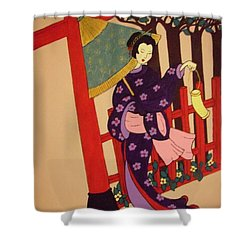 Shower Curtain featuring the painting Windy Day by Stephanie Moore