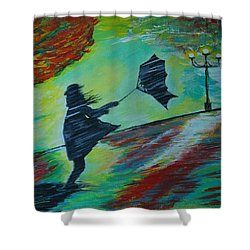Shower Curtain featuring the painting Windy Escapade by Leslie Allen