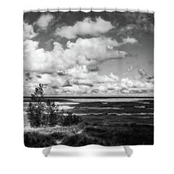 Shower Curtain featuring the photograph Windy Morning On Lake Michigan by Michelle Calkins
