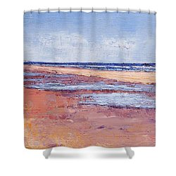 Windy October Beach Shower Curtain by Trina Teele