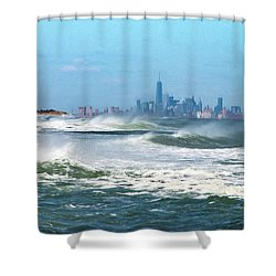 Windy View Of Nyc From Sandy Hook Nj Shower Curtain by Gary Slawsky