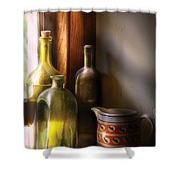 Wine - Three Bottles Shower Curtain by Mike Savad