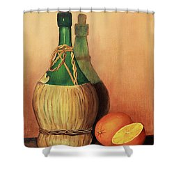 Wine And Oranges Shower Curtain by Pattie Calfy