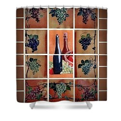 Shower Curtain featuring the ceramic art Wine Bar by Andrew Drozdowicz
