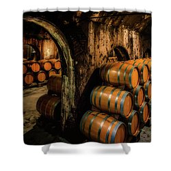 Wine Barrels At Stone Hill Winery_7r2_dsc0318_16-08-18 Shower Curtain
