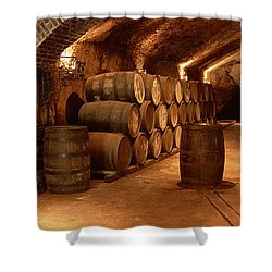 Wine Barrels In A Cellar, Buena Vista Shower Curtain