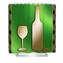 Shower Curtain featuring the digital art Wine Bottle And Glass - Chuck Staley by Chuck Staley