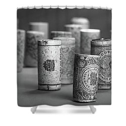 Shower Curtain featuring the photograph Wine Cork Panorama In Black And White by Tom Mc Nemar