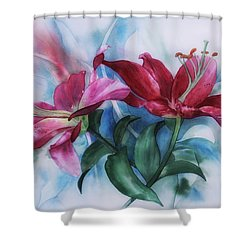 Wine Lillies In Pastel Watercolour Shower Curtain