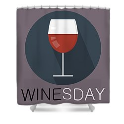 Wine Poster Print - It's Winesday Shower Curtain