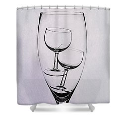 Shower Curtain featuring the photograph Wineglass Trio by Tom Mc Nemar