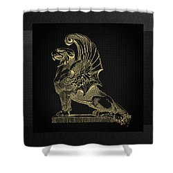 Shower Curtain featuring the digital art Winged Chimera From Theater De Bellecour, Lyon, France, In Gold On Black by Serge Averbukh