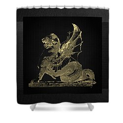 Shower Curtain featuring the digital art Winged Dragon Chimera From Fontaine Saint-michel, Paris In Gold On Black by Serge Averbukh