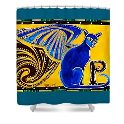 Winged Feline - Cat Art With Letter P By Dora Hathazi Mendes Shower Curtain by Dora Hathazi Mendes